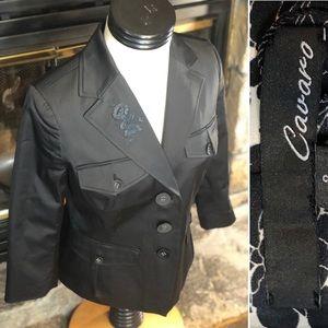 Cavaro Black Embroidered Dress Jacket sIze 4 NWT